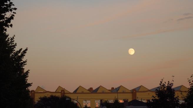 Moon rising over Van Tech Secondary School